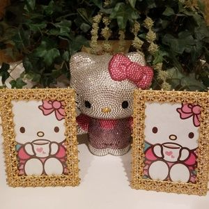 Set of 2 Gold Pearl & Rhinestone Picture Frames